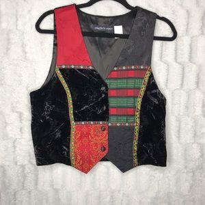 VINTAGE Velvet Patchwork Plaid Button Down Vest